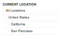 A screenshot highlighting the breadcrumbs in uberVU's locations selector.