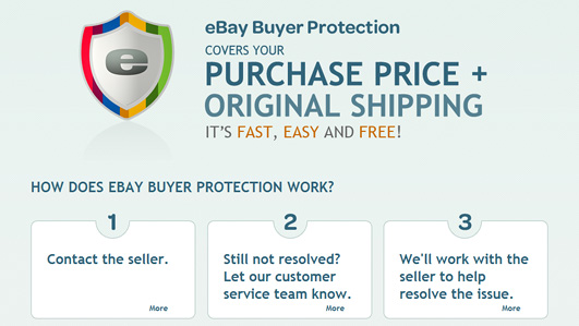 eBay shows its buyer protection policy persistently and explains it in an easy-to-understand way